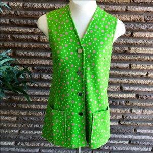 Vintage 60's Polka Dot Lime Green Tunic Vest